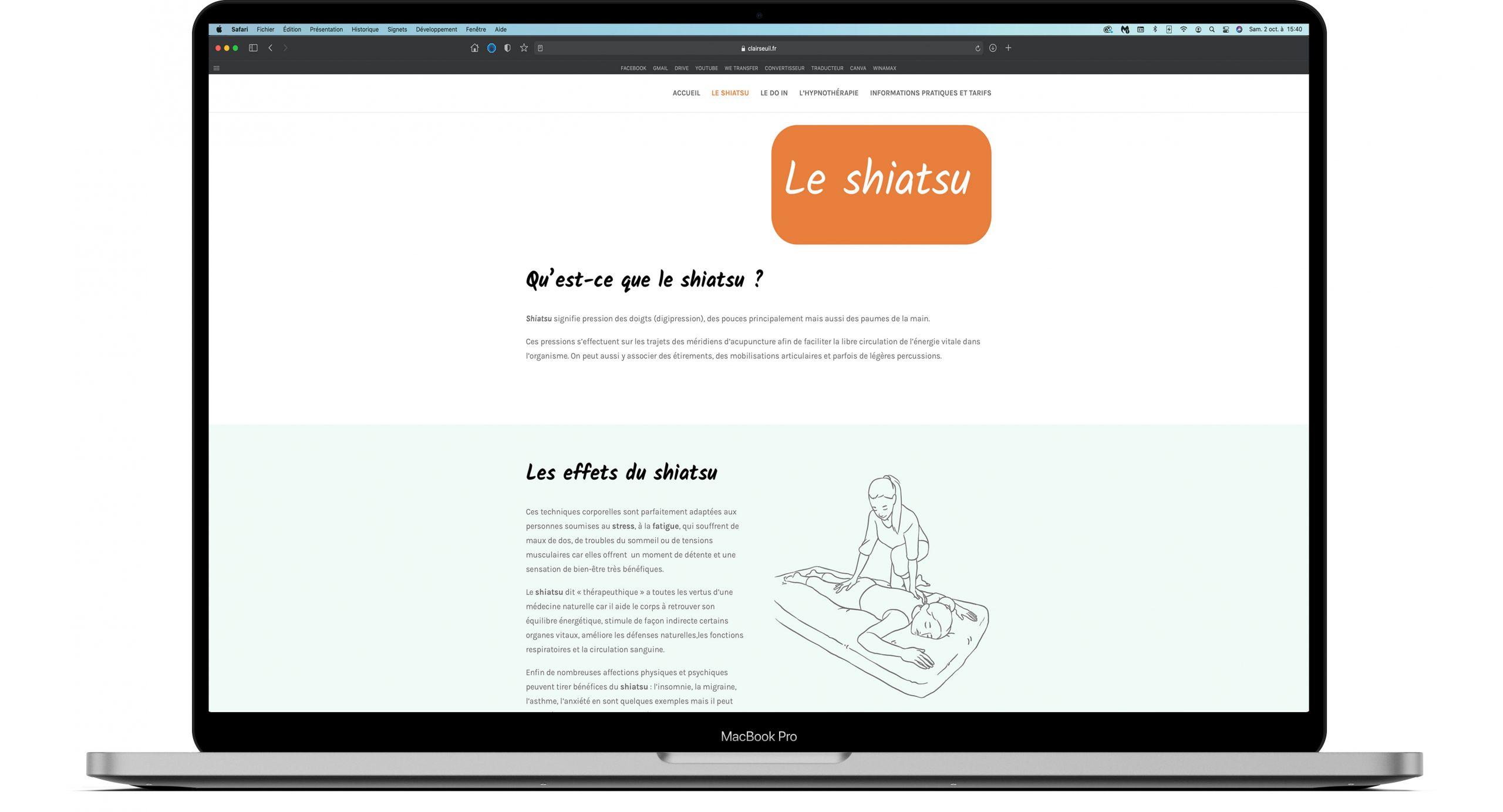 Site internet pour des séances de shiatsu, hypnothérapie et do-in.